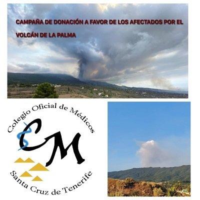 El Colegio de Médicos de la provincia de Santa Cruz de Tenerife organiza una campaña de donación a favor de los afectados del volcán de la isla de La Palma